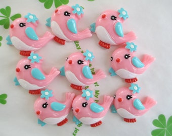 Pink bird cabochons 4pcs 29mm x 25mm New item
