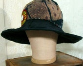 Black Patchwork Wide Wired Brim Downtown Abbey Style Hat
