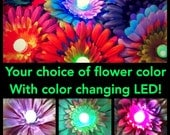 CUSTOM Color Glowing Flower Hair Clip. You choose the colors and I add a color changing LED! Perfect EDC Burning Man Daisy Costume Light Up.
