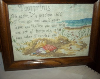 Footprints cross stitch sampler