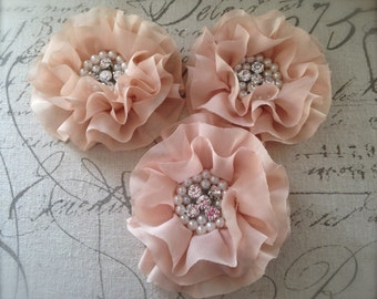 FLOWERS-Rhinestone and Pearl Center LIGHT BEIGE--set of 2-4 inches wide