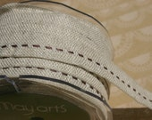 "Brown Burlap Center Stitch Trim - Woven Jute Stitched Ribbon - May Arts Ribbons - 5/8"" - 4 Yards"