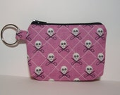 Pink Skulls and Crossbones Zipper Pouch - Small Coin Purse or Dice Bag