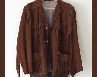 Western Leather Fringe Suede Jacket by Jo-O-Kay Medium