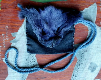 Fox fur and leather pouch - eco friendly recycled leather with salvaged blue dyed fox face and yarn bag purse pocket