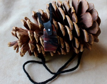 Polished agate and leather necklace with hand-braided yarn cord - simple nature jewelry