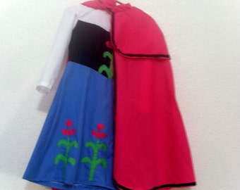 Princess Anna of Arendelle from Frozen Dress and Cape Child's Anna Dress size 2-6