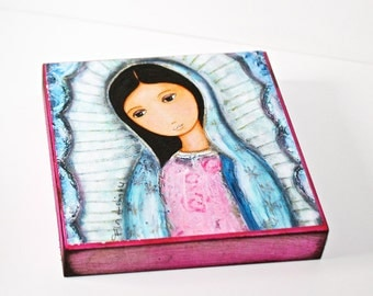 Holy Mary of Guadalupe - Giclee print mounted on Wood (4 x 4 inches) Folk Art  by FLOR LARIOS