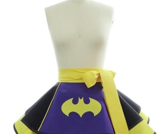 Retro Half Apron - Purple Batty Girl Womans Aprons - Vintage Apron Style - Pin up Rockabilly Cosplay