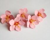 5 Pink cherry blossom flowers,wedding decoration,scrapbook flower,table decoration,paper flower, flower embellishment, paper cherry blossom