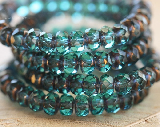 BRONZED TEAL BABIES .. 30 Premium Picasso Czech Rondelle Glass Beads 3x5mm (4469-st)