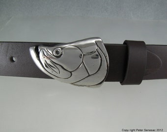 Tarpon Fish Belt Buckle in Solid White Bronze with Black Patina Hand Made for 1.25 inch belts