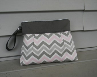 Diaper Clutch Gray and Pink  Chevron  with Waterproof Lining