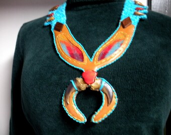 FREE SHIP tan leather necklace with faux bear claw naja and Pendleton blanket insets, squash blossom style Bearly Art Designs