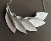 Petal Collection- White Leather Necklace