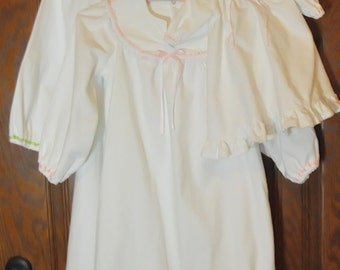 Custom Set ~ Classic Girl and Doll Matching White Flannel Nightgown ~ Size 2 - 8