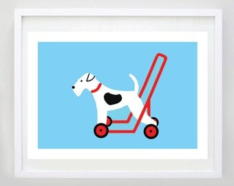 Dog on Wheels Print - Terrier on Wheels - Kids Bedroom - Wall Art - Dog Art - Dog Poster - Dog Illustration - Kids Room Decor