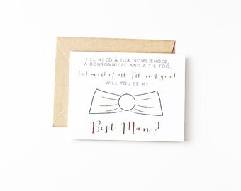 Will You Be My Best Man Bridal Party Invites Best Man Gift Groomsman Ask Eco Friendly Wedding Recycled Paper Greeting Cards Wedding