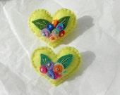 Spring Garden Felt Heart Flower Bouquets-Pin-Brooch - Friendship Gift Heart in Neon Yellow Green w/Bright  Aqua, Blue Red Orange Flowers
