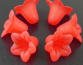CLEARANCE Acrylic Bead 6 Bell Daisy Flower 5-Petal Frosted 18mm x 12mm Red (1017luc18-16)os