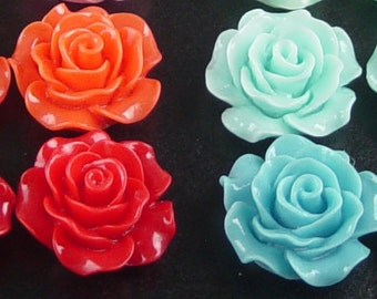 Cabochon Resin Flower 4 Resin Round Rose Flower COLOR CHOICE 20mm x 9mm (1019cab20m4)