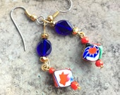 CindysArts venetian Italian glass cube bead, dangle earrings, cobalt blue and gold accents