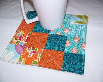 Reversible Scrappy Modern Mug Rug or Coaster in Fun Prints