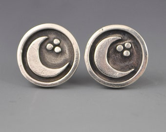 Moon Stud Post Earrings