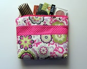 Large MAKE UP BAG Grey, Pink and Green Flowers, Gusset Bottom, Zipper Pouch, Cosmetic Bag