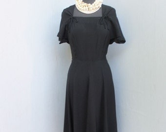1940s/50s Dress / Black Swing Style 40s/50s Dress / Fit and Flare LBD, Cocktail or Dinner Dress