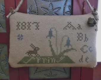 Completed Cross Stitch Spring Sampler Pinkeep, Primitive Shabby Chic Pincushion, Primitive Folk Art  ~ Ready To Ship ~