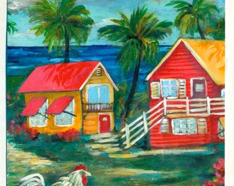 Key West House 2 Shabby Chic Tropical Path to the Beach Original Fine Art Painting FREE SHIPPING keROBinson