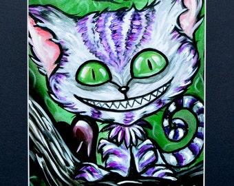 Cartoon Cheshire Cat Art Print of Original Painting 8x10 Print  Matted To 11x14