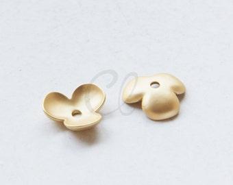 2pcs Premium Matte Gold Plated Brass Base Caps-14x5mm (77C-R-65)