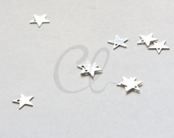 20pcs Oxidized Silver Plated Brass Base Star Charm - 7mm (2030C-U-277)