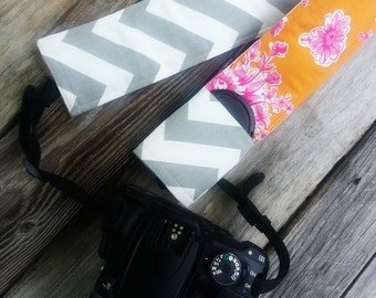 Padded DSLR camera strap cover, reversible padded camera strap cover, slip on strap cover in field of flowers