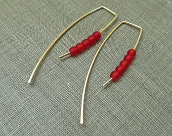 14K Yellow Gold Filled Dangle Hook Earrings - Matte Red Glass Beads - Modern Minimal Simple Beaded Wire Jewelry