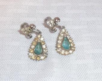 30s 40s Vintage Dangle Drop Aqua Rhinestone Earrings Screw On Style