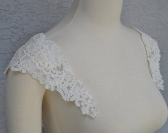 Detachable Ivory Alencon Lace Straps to Add to your Wedding Dress it Can be Customize