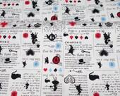 """Alice in Wonderland Fabric Half meter 50  cm x 108 cm or 19.6"""" by 42"""" (n311)"""