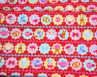 Japanese fabric Kawaii Animals and sweets Half meter 50 cm by 106 cm or 19.6 by 42 inches nc22