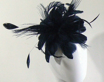 1 Large black feather hairclip - black goth feather clip - large feather facinator