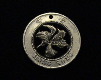 HONG KONG - cut coin jewelry - Bauhinia Flower - 1995