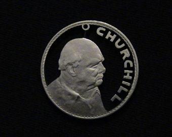 GREAT BRITAIN - cut coin pendant - WiNSTON CHURCHILL - 1965