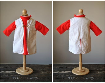 1960s Red Crest Knit Dress & Jacket~Size 12 Months