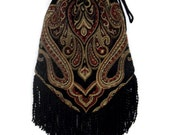 Tapestry Gypsy Bag with Black Fringe Hippie Bag  Boho Bead Bag  Cross Body Bag