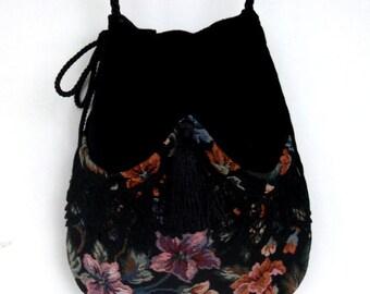Floral and Black Lace Drawstring Bag  Black Velvet Bag  Bohemian Bag  Crossbody Purse Dark Forest Mori Girl