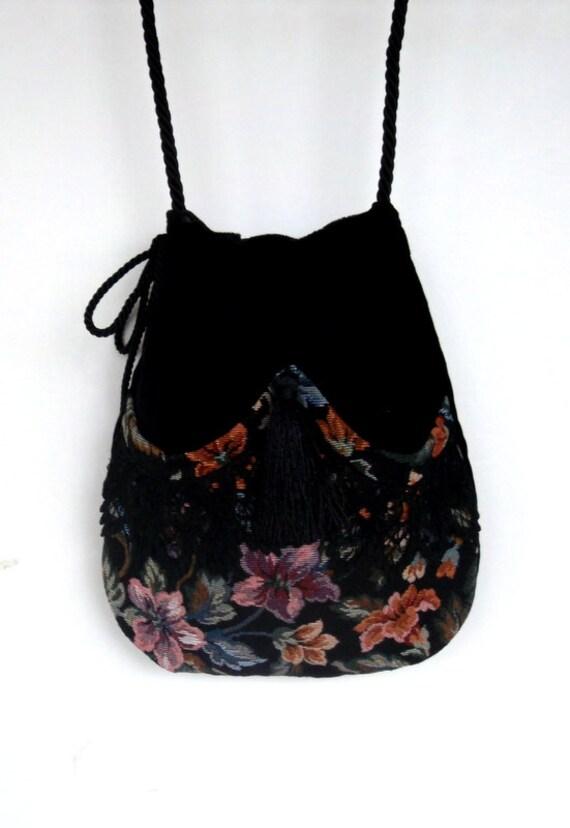 Floral And Black Lace Drawstring Bag Black Velvet Bag