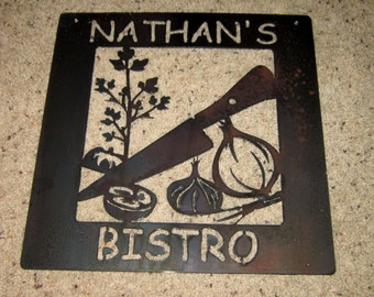 Custom order Bistro Sign-metal art, customized, personalized, special order, kitchen art, bistro art, vegetable art
