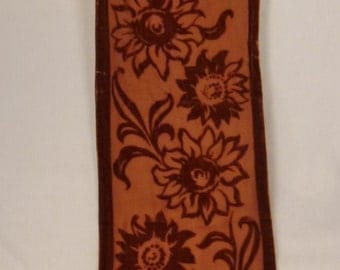 Stunning SILK BURNOUT Scarf Velvet  Brown color Sunflowers Art Institute of Chicago 60x10 inches  Lined brown backround